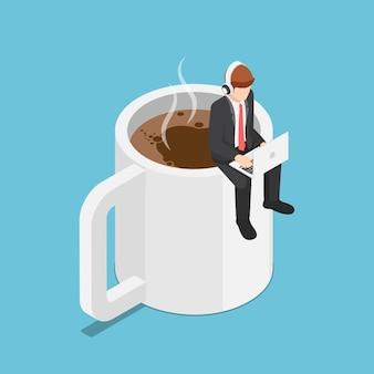 Plano de negócios isométrico 3d sentado na xícara de café e trabalhando no laptop