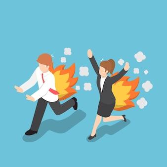 Plano de negócios isométrico e mulher correndo com as costas pegando fogo, hora do rush e conceito de prazo