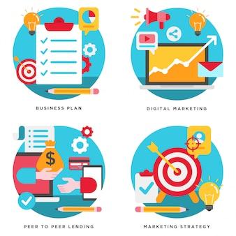 Plano de negócios, marketing digital, design de estratégia de marketing