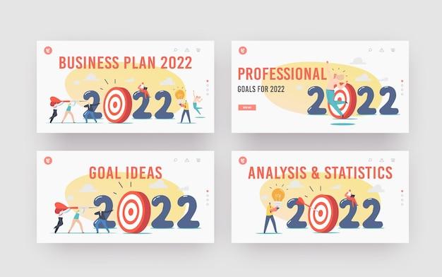 Plano de negócios para 2022 landing page template set. personagens lançam dardos enormes no alvo, reforço de carreira de funcionários de escritório, projeto inicial. os empresários alcançam a meta. ilustração em vetor desenho animado