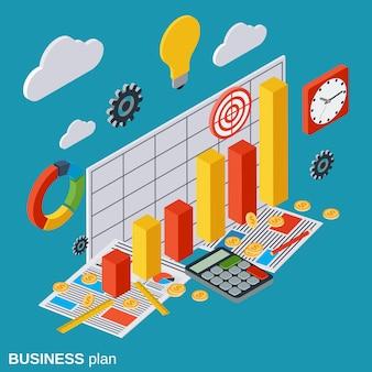 Plano de negócios plano isométrico vector conceito ilustração