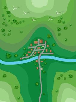 Plano de paisagem para uma pequena cidade no mapa