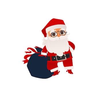 Plano de papai noel com saco de caixas de presentes