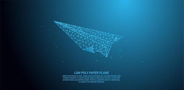 Plano de papel de baixo poli, linhas abstratas e pontos de conexão de triângulo