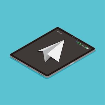 Plano de papel voar liberdade e comunicação de tecnologia