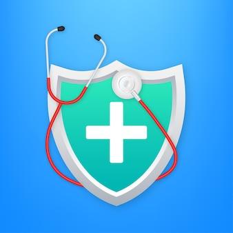 Plano de saúde. proteção médica, conceitos de seguro médico. design plano. ilustração em vetor das ações. ilustração vetorial.