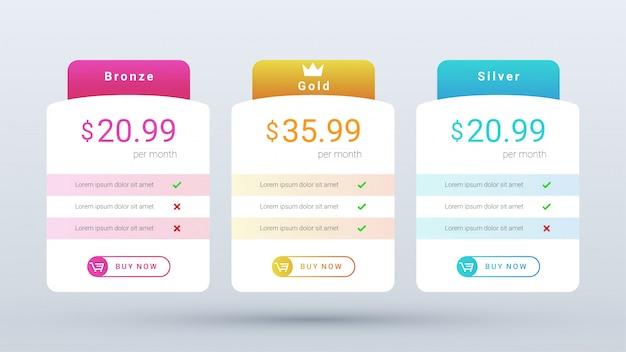Plano de tabela de preços moderno e limpo, com cores vibrantes e gradientes para aplicativos da web e móveis.