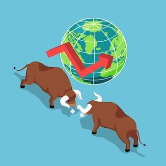 Plano de touros isométricos 3d lutando com o mundo e o gráfico de crescimento. mercado de ações em alta e conceito financeiro.