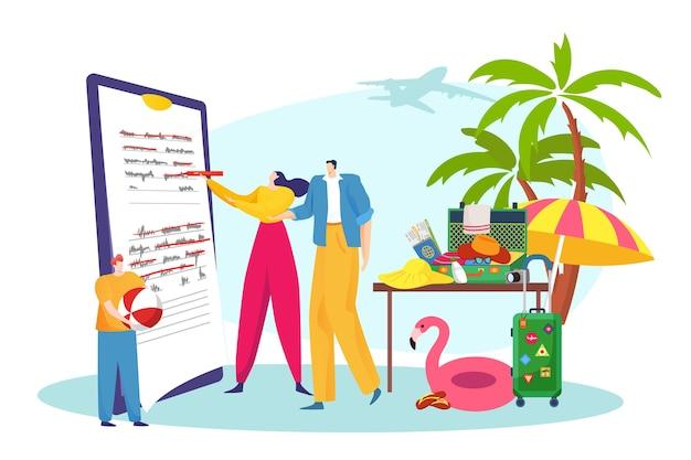 Plano de viagem de viagem de pai, mãe, filho, ilustração de avião