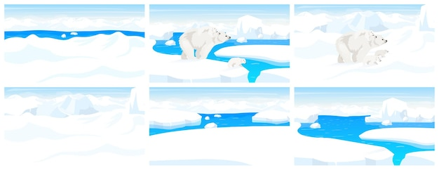 Plano de vida selvagem do pólo norte. paisagem ártica. cena panorâmica de neve. urso branco adulto caminhando com filhotes nas colinas de inverno. bordas de iceberg. desenho de mamífero marinho