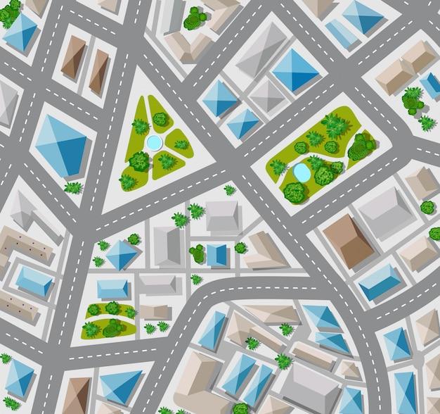Plano de vista superior para a cidade grande, com ruas, telhados, carros