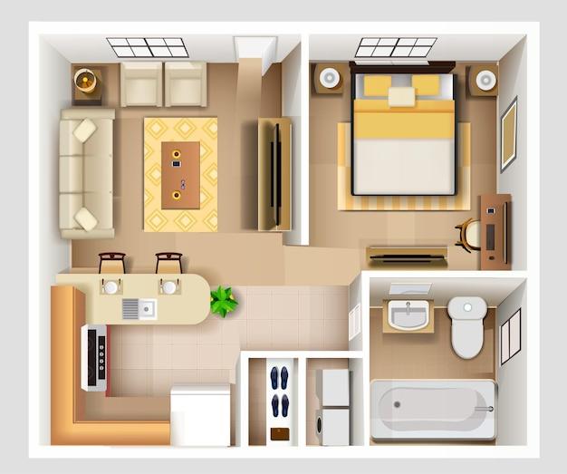 Plano detalhado do interior do apartamento com vista superior
