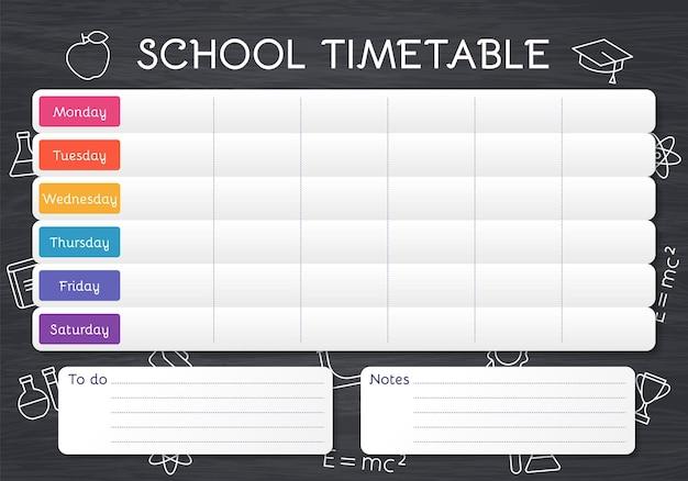 Plano do aluno no quadro-negro com aulas