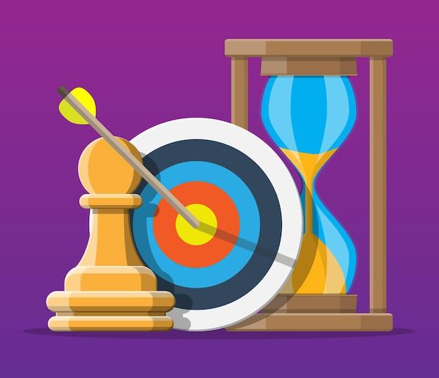 Plano e estratégia de negócios. figura de xadrez de peão, alvo com flecha e relógios. definição de metas. objetivo inteligente. conceito de alvo de negócios. realização e sucesso. ilustração vetorial em estilo simples
