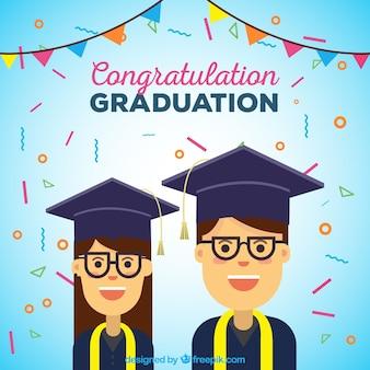 Plano, fundo, graduado, estudantes