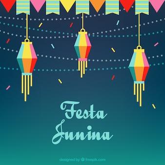 Plano, fundo, guirlandas, lanternas, festa, junina