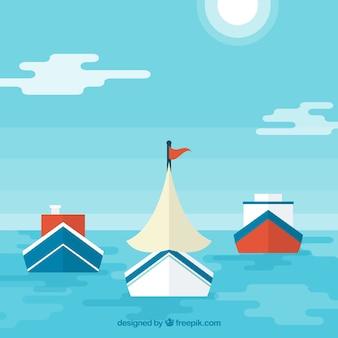 Plano, fundo, mar, variedade, barcos