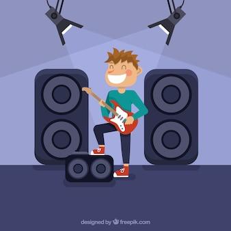 Plano, fundo, sorrindo, guitarrista, jogador