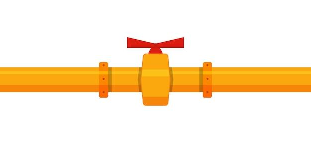 Plano industrial com tubo amarelo e válvula vermelha em branco