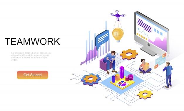 Plano isométrico conceito de trabalho em equipe