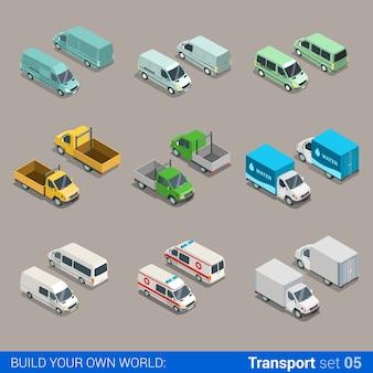 Plano isométrico de alta qualidade, cidade, carga, transporte, conjunto de ícones. carro, caminhão, van, construção, ambulância, entrega, micro-ônibus de água