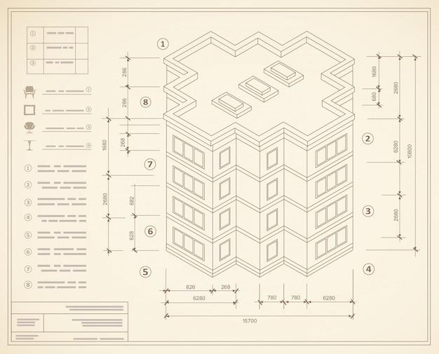 Plano isométrico do modelo de um edifício residencial