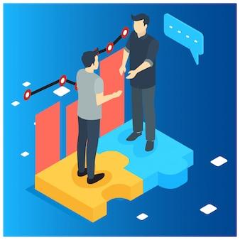 Plano isométrico dois empresários fazendo negócio