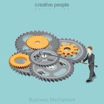 Plano isométrico empresário ajuste mecanismo de roda dentada empreendedorismo know-how isometria business concept.