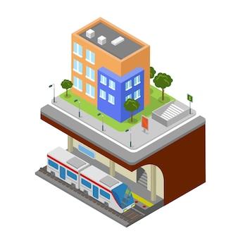 Plano isométrico metrô estação ferroviária subterrânea