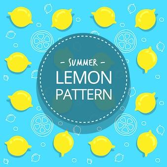 Plano mão desenhada verão limão suave azul amarelo padrão