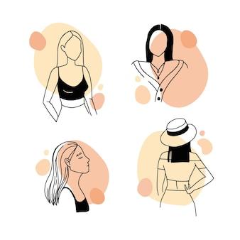 Plano médio de mulher no estilo de arte elegante linha