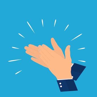 Plano. ð¡oncept of success aplausos. mãos batendo palmas. ilustração vetorial. eps10