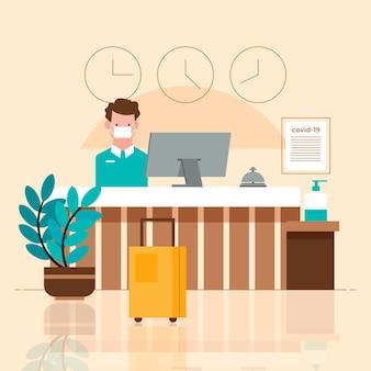 Plano orgânico novo normal em hotéis ilustrados