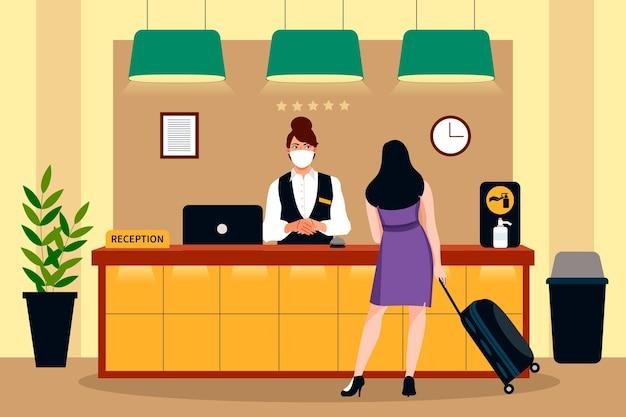 Plano orgânico novo normal na ilustração de hotéis