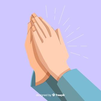 Plano, rezando, mãos, fundo