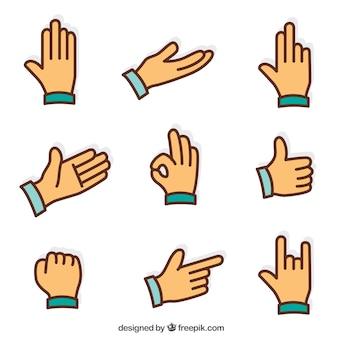 Plano sign language icons set