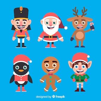 Plano sorridente coleção de personagens de natal