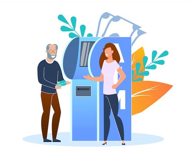 Plano terminal de reposição de cartão de crédito ou débito. um homem mais velho reabastece o cartão de crédito no terminal do banco.