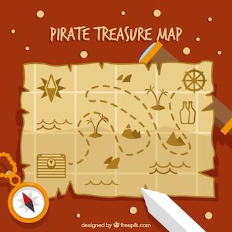 Plano tesouro pirata mapa