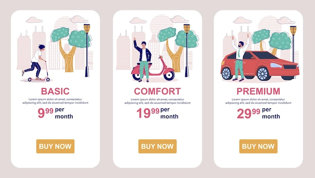 Planos de assinatura de tarifa tabela de preços aplicativo móvel telas vetor website banner template ui web site ...