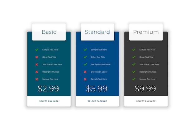 Planos de assinatura e modelo da web de comparação de preços