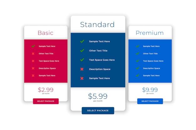 Planos de comparação modernos e modelo de preços