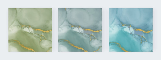 Planos de fundo aquarela com tinta álcool verde e azul
