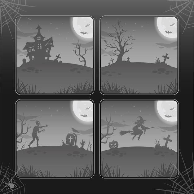 Planos de fundo da noite de halloween, ilustrações em tons de cinza. coleção. lua brilhante, zumbi, bruxa