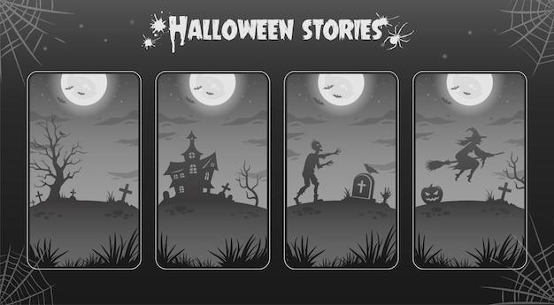 Planos de fundo da noite de halloween, ilustrações para histórias. coleção. grande lua brilhante, zumbi, bruxa
