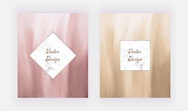 Planos de fundo de traçado de pincel marrom e rosa com molduras de mármore.