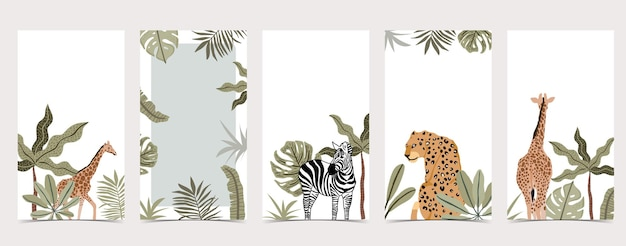 Planos de fundo do safari para coleção de mídia social com animais e plantas selvagens