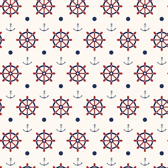 Planos de fundo sem costura padrão náutico com âncoras e rodas de navio