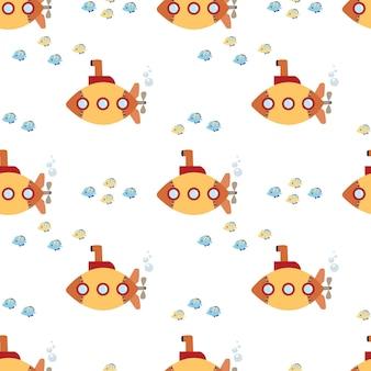 Planos de fundo sem costura padrão náutico com submarino amarelo e peixes