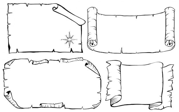 Planos de mapa de treassure em quatro estilos diferentes